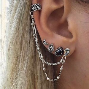 Jewelry - 🆕 Ear Thread Cuff with 3 Earring Studs Included